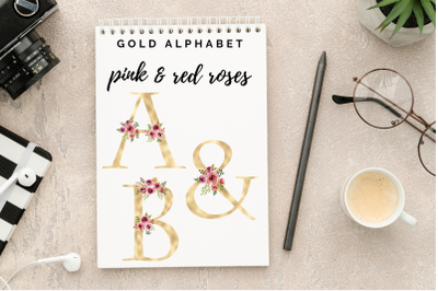 Blush florals alphabet, Gold foil alphabet with flowers, Rose wedding
