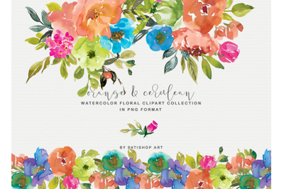Orange & Cerulean watercolor Floral Clipart Set