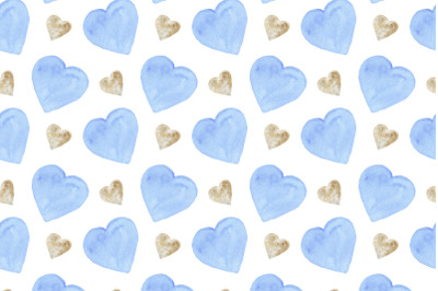 watercolor blue and gold hearts seamless pattern on a white background