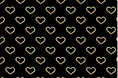 golden watercolor hearts seamless pattern on a black background
