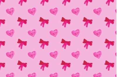 watercolor ribbon bows and on pink background seamless pattern