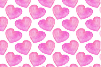 watercolor pink hearts seamless pattern on white background