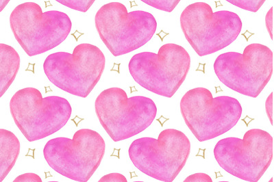 watercolor hearts and stars seamless pattern on white background