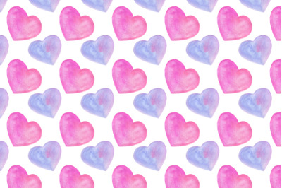 watercolor hearts seamless pattern on white background