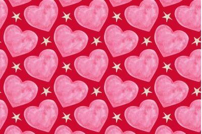 watercolor hearts and stars seamless pattern on red background
