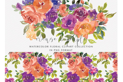 Orange and Purple Watercolor Floral Clipart Set