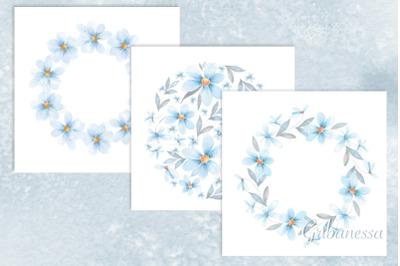 Delicate blue set. Chamomiles