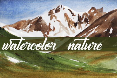 watercolor landscape, mountains, mountain landscape