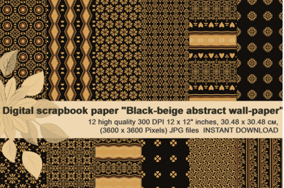 Black-beige abstract wall-paper, Ethnic Digital Paper.