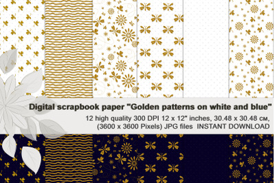 Golden Patterns on Royal Blue and White, Scrapbook Paper.