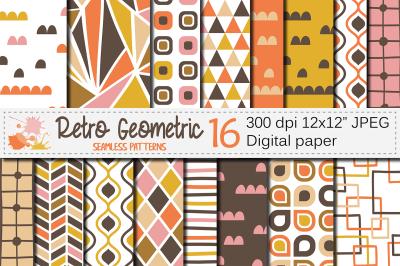 Retro geometric seamless patterns, Brown Orange Yellow Pink