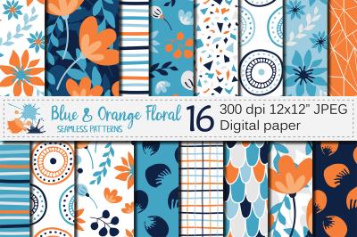 Blue and orange floral seamless digital paper / Floral patterns