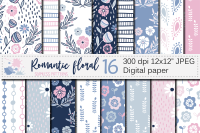 Romantic blue pink floral seamless digital paper / Pastel patterns