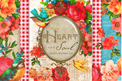 Heart & Soul Flowers & Frames Graphics Kit