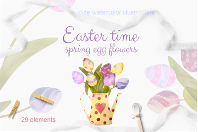 Easter time. Set of watercolor egg flowers