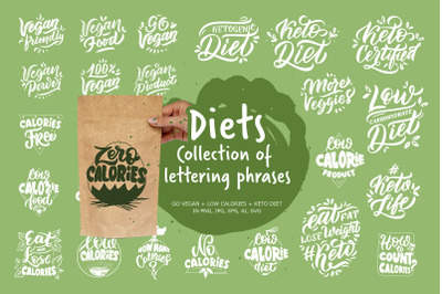 Diets. Set of lettering phrases