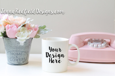 White Mug Mockup Stock Photo with Pink Accents
