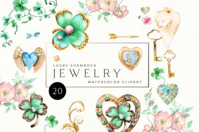 Watercolor Vintage Jewelry Hearts Clipart. Wedding DIY