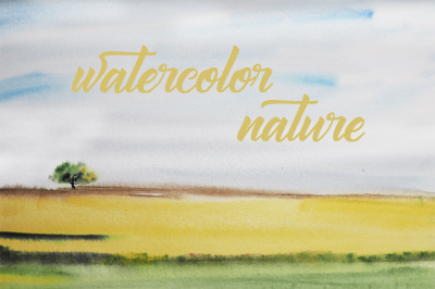 watercolor landscape summer tree and field