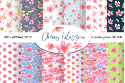 Watercolor Cherry Blossom patterns