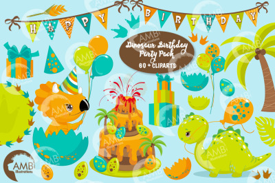 Dinosaur Birthday Clipart pack AMB-2701