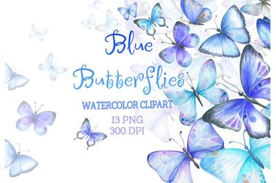 Watercolor Blue Butterflies