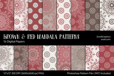 Brown & Red Mandala Digital Papers
