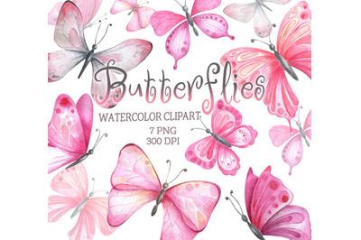 Watercolor pink butterflies