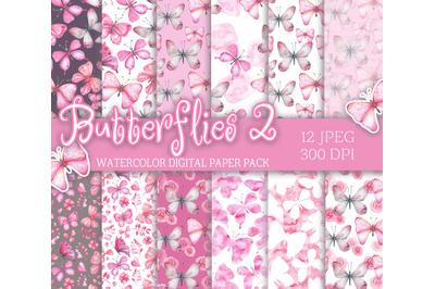 Watercolor digital Paper pack pink butterflies seamless patterns