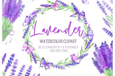 Watercolor Lavender Clipart Butterflies Clip Art Flower Purple Rustic