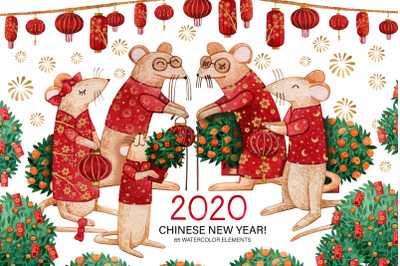 Chinese New Year of the Rat 2020. Watercolor collection