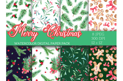 Christmas Winter Watercolor digital paper pack seamless patterns