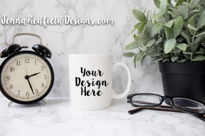Blank White Mug Mockup with Neutral Accents