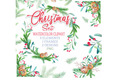 Christmas watercolor clip art frame wreath set PNG