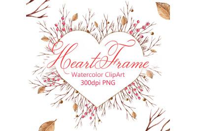 Watercolor winter autumn frame heart love digital PNG