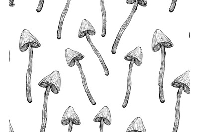Magic ink mushrooms pattern, seamless ang transparent png