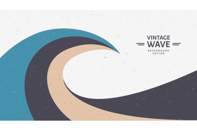 vintage wave vector background illustration.
