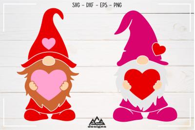 Love Heart GNOME Valentine Svg Design