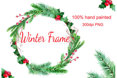 Watercolor winter frame Christmas wreath PNG clipart