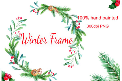 Watercolor winter frame christmas wreath digital PNG