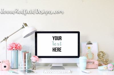 Styled Stock Photography | Mint and Pink Mac Computer Desktop Mockup with Pastel Color Scheme | For Instagram, Brands, Pinterest | JennaRedfieldDesigns