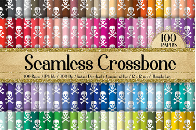 100 Seamless White Crosses Bones with Skull Digital Papers