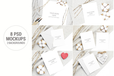Invitation Card Mockup set with cotton and branches