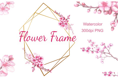 Watercolor frame with blooming cherry. Sakura. PNG