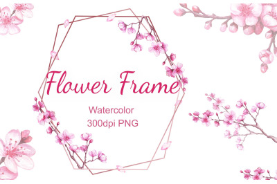 Watercolor frame with blooming cherry. Sakura.