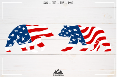 Bear USA Flag Svg Design