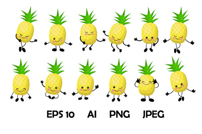Vector clipart set. Pineapple characters.