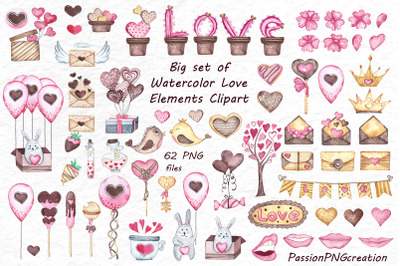 Big set of Watercolor Love Clipart
