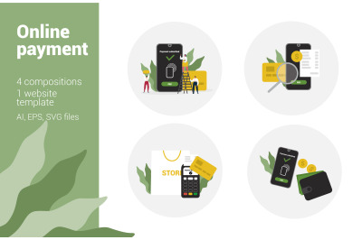 Online payment flat illustrations