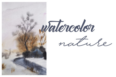 watercolor landscape with river with river and trees